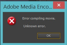 premiere pro unknown error compiling movie